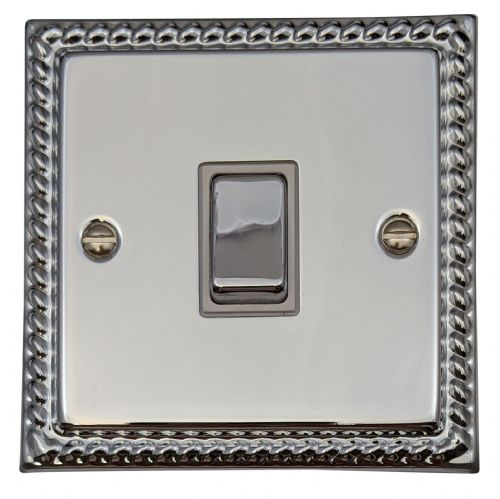 G&H MC201 Monarch Roped Polished Chrome 1 Gang 1 or 2 Way Rocker Light Switch